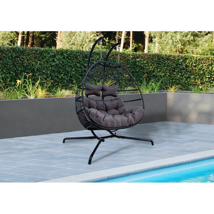 Bungalow Rose Derbyshire Double Swing Chair With Stand Wayfair Egg Swing Chair Swinging Chair Wicker Swing