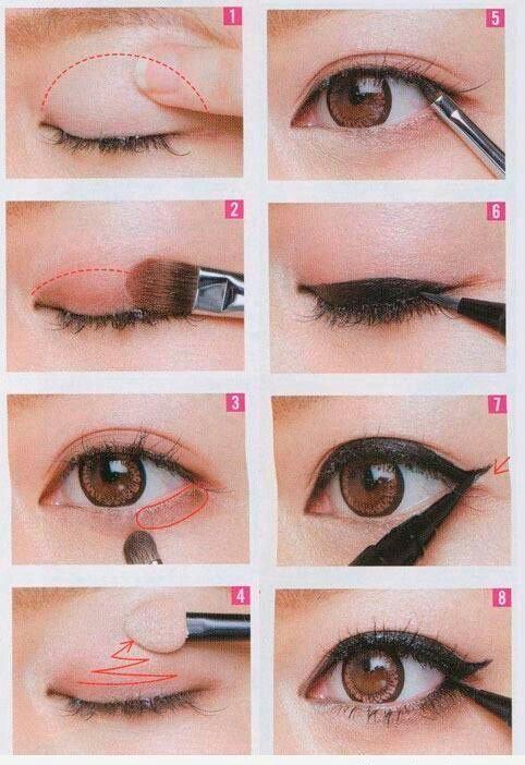 Se eliminate l'eye liner ma mantenete questi colori e la bordatura semplice é un perfetto trucco correttivo che serve anche per rimediare a occhi vicini, lontani, sporgenti o infossati