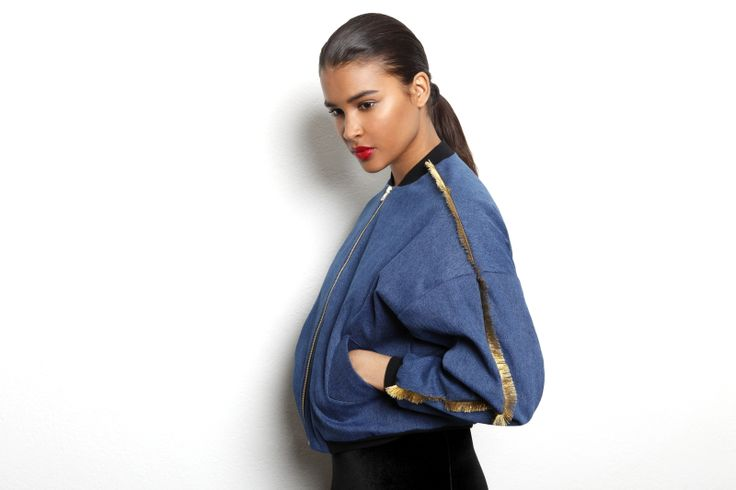 R/H Denim jacket with gold fringes on the sleeves