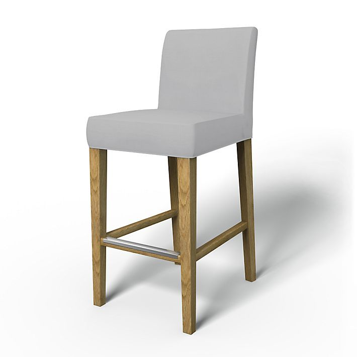 Henriksdal, Chair Covers, Bar stool, Regular Fit using the fabric Panama Cotton Silver Grey