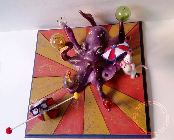 Ooak Polymer clay creation by Tata Serena and Sharon Barbara Smorta The Fairy Circus (Octopus and mice)