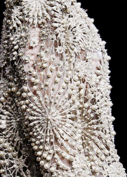 Haute Couture Embroidery - pearl embellished dress with elegant patterns &…