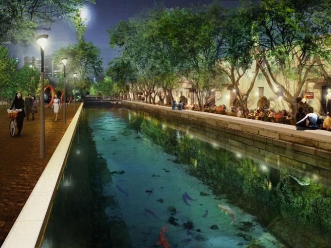 Mancho Canal, bars and terraces. Images © West 8 Urban Design & Landscape Architecture.