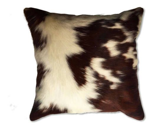 Cowhide pillow for home decor. Authentic cow hide pillow cases. leather cushions. throw pillows western style. Cow skin pillow covers