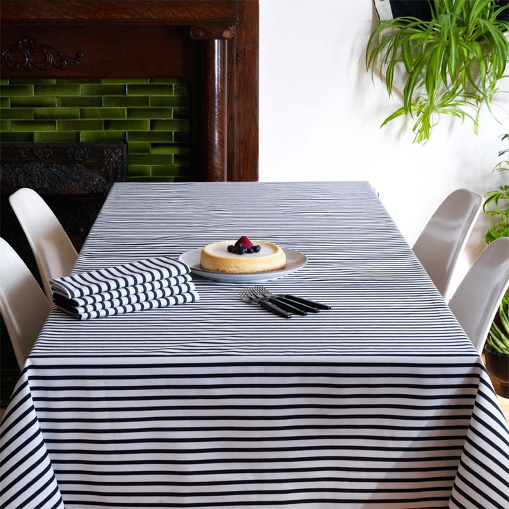 Striped table clothDining Room, Charcoal Tablecloth, Sailors Charcoal, Offices Dinning Room, Officedin Room, Tables Linens, Modern Tables, Tablecloth Modern, Tablecloth Ideas