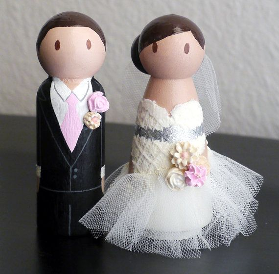 LACE TULLE Wedding Wooden Peg Doll Cake Topper with 3D Accessories - Custom made & Personalized