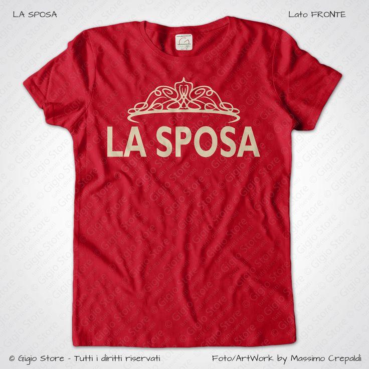 Magliette Matrimonio Addio al Nubilato La Sposa T-Shirt colore Rosso Veneziano Stampa Colore Crema Taglia XS-S-M-L-XL-XXL