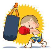 Golpe de boxe Muay Thai saco de areia —  Vetores de Stock