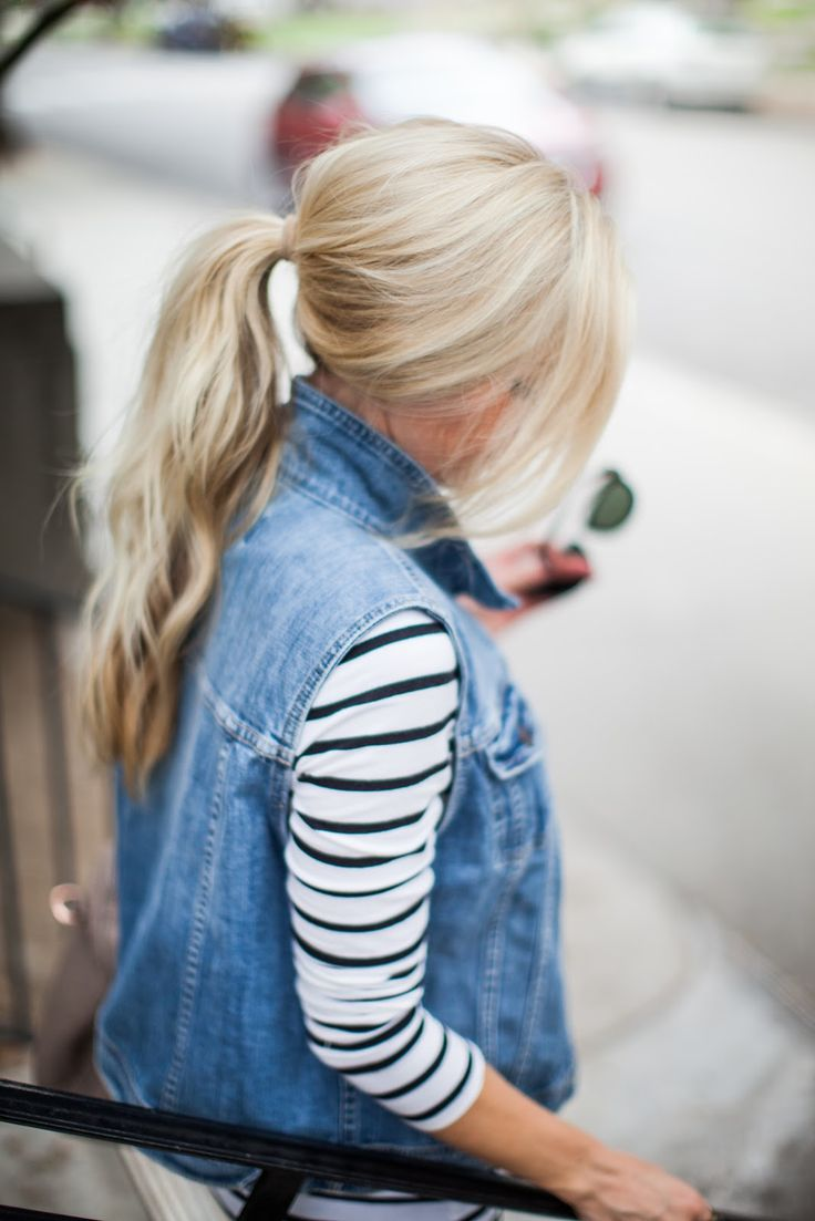 Denim vest + stripes.