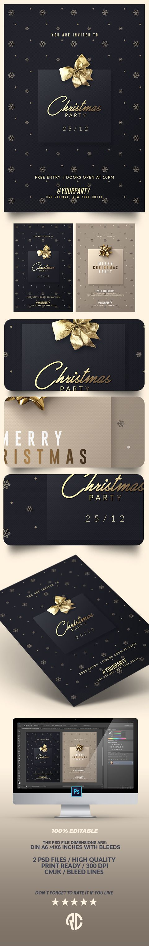 Awesome ! 2 Classy Christmas | Psd Invitations - #invitation #christmas #style #fashion #cards #template #party #creativemarket
