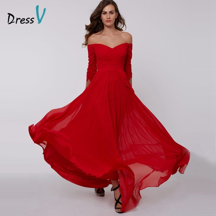 DressV red A-line long evening dress cheap off the shoulder zipper up 3/4 length sleeves pleats ruched chiffon evening dress