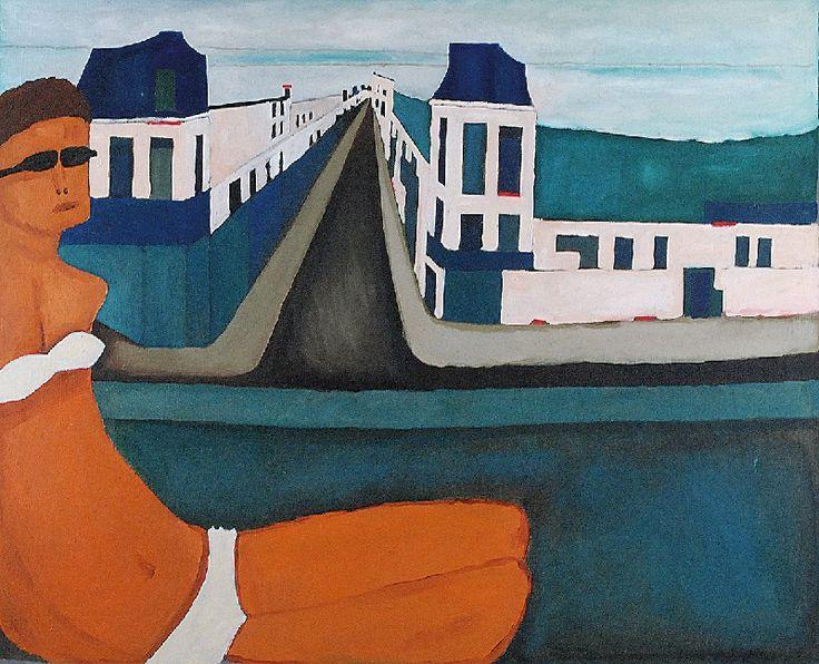 Jerzy NOWOSIELSKI (1923-2011)  Kobieta na tle miasta, 1971 olej, płótno, 81 x 100 cm; sygn. na odwrocie: JERZY NOWOSIELSKI/ 1971