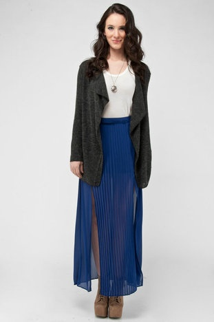 Pleated Maxi Skirt in Blue
