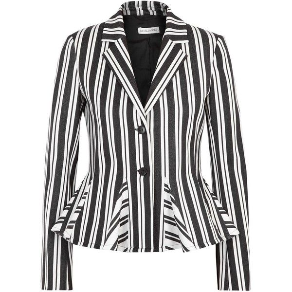 Altuzarra Clary Striped Wool Blend Blazer - Size 12 (€1.770) ❤ liked on Polyvore featuring outerwear, jackets, blazers, white and black striped blazer, white and black jacket, shoulder pad jacket, black and white striped blazer and stripe blazer