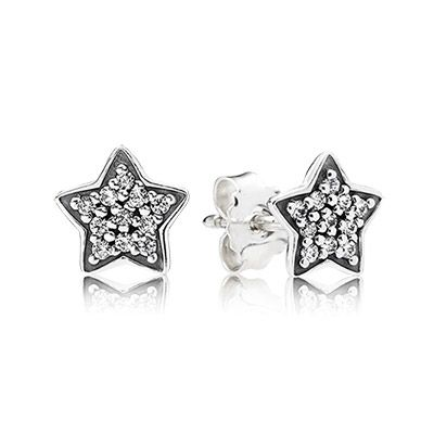 PANDORA   Star silver stud earring with cubic zirconia