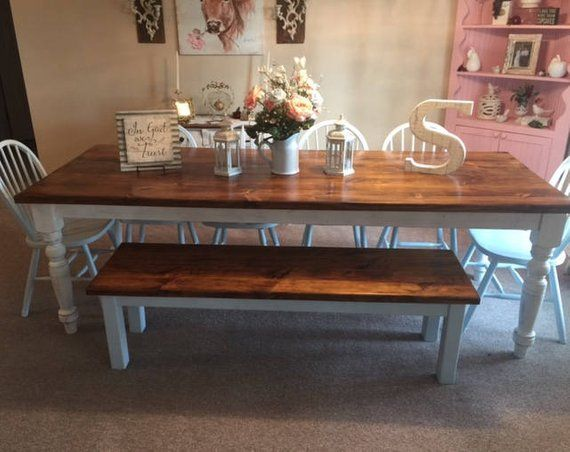 8 Foot Farm Table Handmade Dining Table With 2 Benches ...