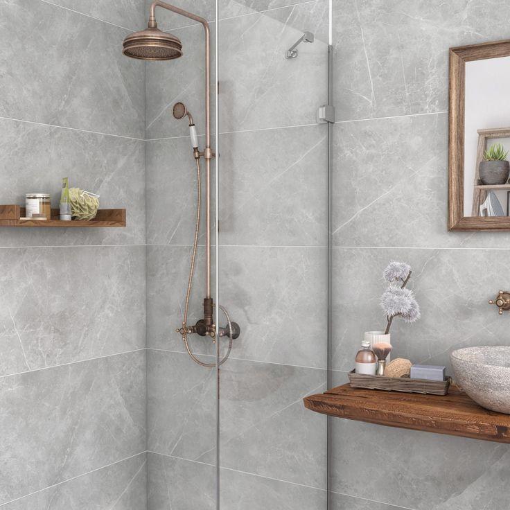 Carrelage mur et sol marbre gris mat l.90 x L.3 cm, Rialto ECOCERAMIC