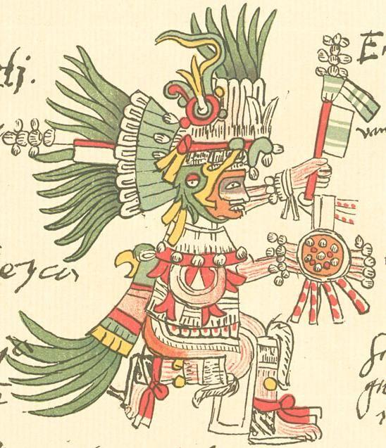 """Codex Telleriano-Remensis - Huitzilopochtli, """"colibri de gauche"""" ou """"guerrier ressuscité"""", est un dieu spécifiquement aztèque. Ce dieu tribal de la guerre, de la mort & du soleil, protecteur de la tribu aztèque, constitue avec Tlaloc, la divinité la plus importante de l'empire et est vénéré à Tenochtitlan dans le Templo Mayor. Il est reconnaissable aux bandes jaunes & bleues sur son corps, aux plumes de colibri sur sa jambe gauche et à son propulseur en forme de serpent."""