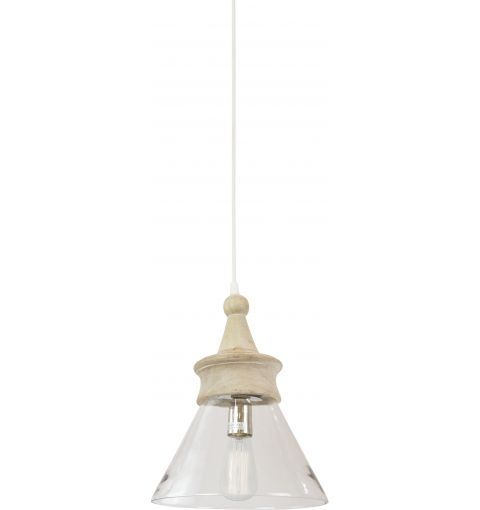 Mathis Pendant Light, Natural Wood/Clear Glass