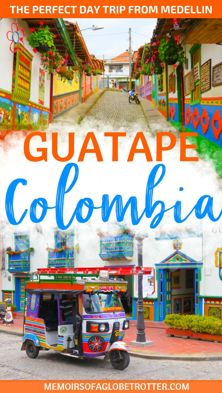 Explore #Guatape, the most colourful town in #Colombia and climb to the top of El Penon de Guatape on this day trip from #Medellin !