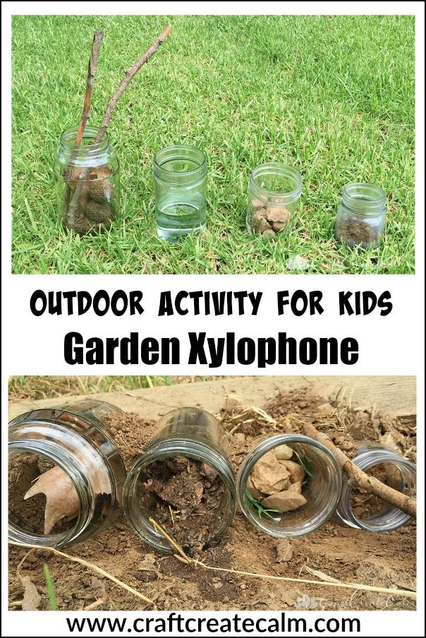 Ggarden xylophone activity for kids. Get kids outdoors with this fun musical activity!
