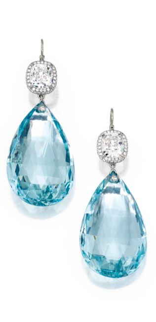 Pair of Platinum, Aquamarine and Diamond Pendant-Earrings Supporting two briolette-cut aquamarines weighing 43.82 and 43.08 carats, surmounted by two cushion-cut diamonds weighing 2.05 and 2.02 carats, further decorated with round diamonds weighing approximately .75 carat.