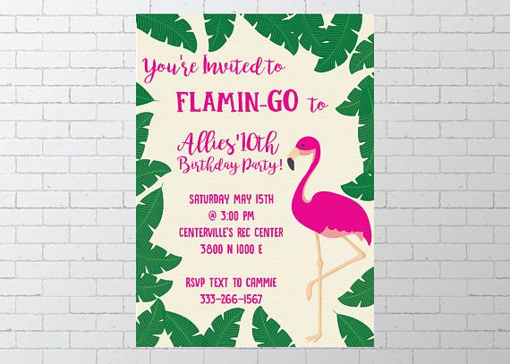 Flamingo pink and green teen tween tropical girl birthday pool party printable digital invitation How the Process Works and What the Customer Receives - Choose which invitation you would like for your event  - Purchase the invitation and in the notes to the seller please include   o Event details – Day of the week / Date/ Time / Place o Name of child or person event is for o Name and address where event is taking place o RSVP and contact information if applicable o Registry inf...