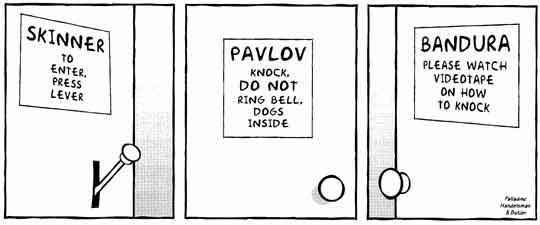 Comic about famous behavioral psychologists and their experiments. Each door has instructions on it that describe how to open the door based on experiments each psychologist has done, such as Pavlov's dog ringing the bell.