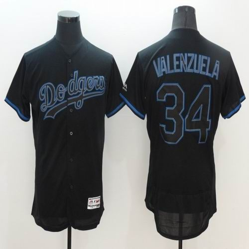 MLB New Los Angeles Dodgers Jersey Mens 34 Fernando Valenzuela Black with Blue Shadow Flexbase Collection Baseball Jersey