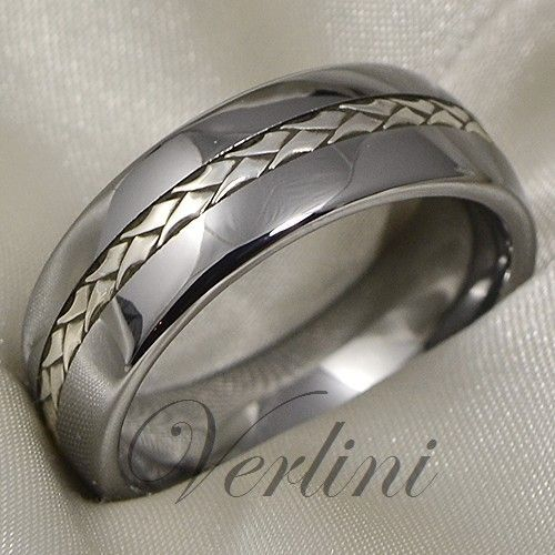 Tungsten Ring Silver Inlay Mens Wedding Band Titanium Color Size 6 13