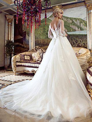 Vestido de Noiva Trapézio/Princesa Canoa Cauda Escova (Tule) | LightInTheBox