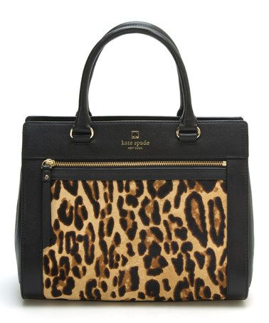 Kate Spade New York Black & Leopard Romy Perri Lane Calf Hair Satchel