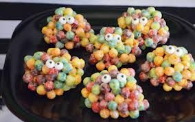 blobs: marshmallow and trix balls with candy eyes