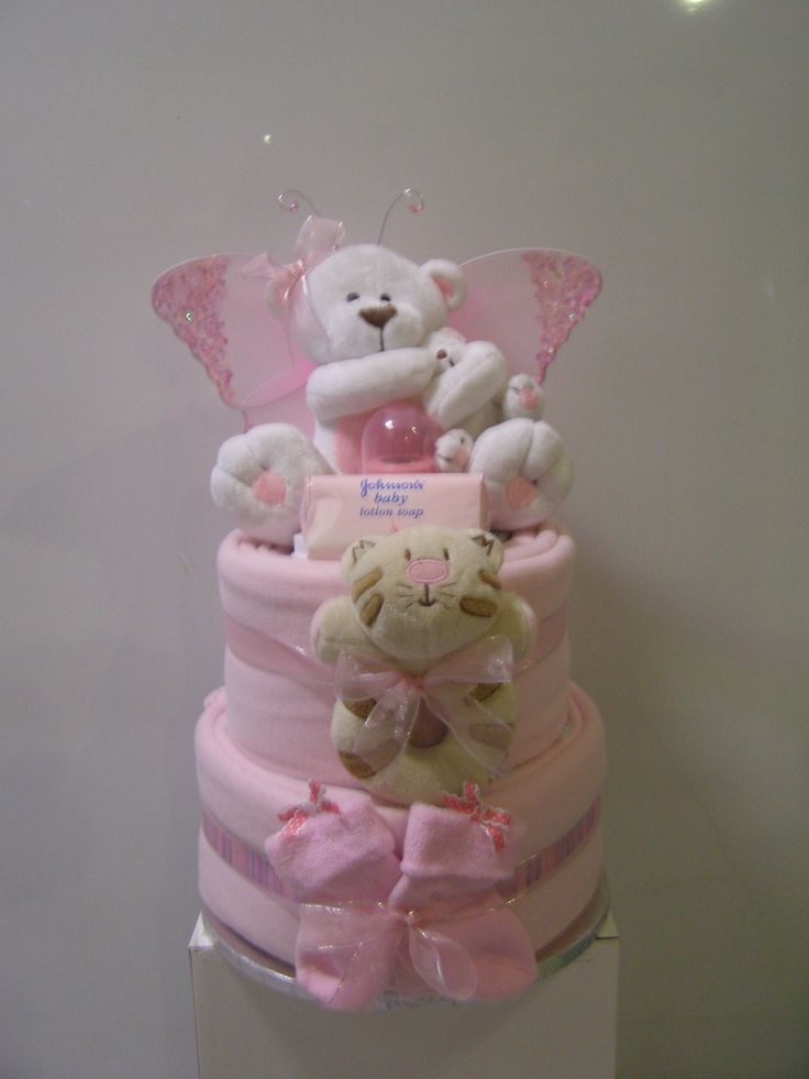 2-Tier pink nappy cake with fairy wings www.designernappycakes.weebly.com