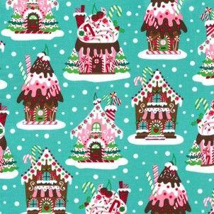 Michael Miller - Christmas Gingerbread House Aqua
