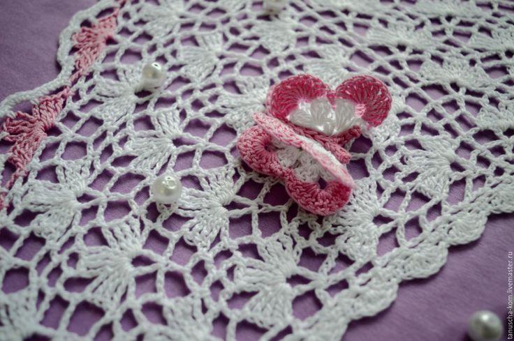 Купить Косыночка для девочки крючком с бабочкой с розовой отделкой - белый, детская одежда, вязаная косынка