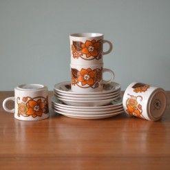 Vintage Brendan Erin stone coffee cups trio x 4