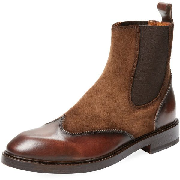Antonio Maurizi Men's Wingtip Chelsea Boot - Dark Brown - Size 41 ($299) ❤ liked on Polyvore featuring men's fashion, men's shoes, men's boots, dark brown, mens wingtip shoes, mens leather boots, mens leather shoes, mens wing tip shoes and mens boots