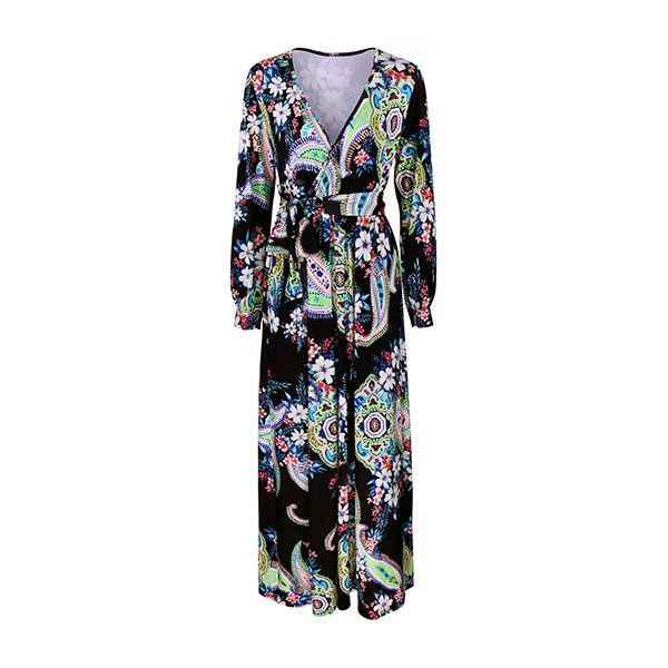 V Neck Long Sleeve Printed Dress (1.525 RUB) ❤ liked on Polyvore featuring dresses, green, long sleeve dress, maxi dresses, print dress, longsleeve dress and green dress