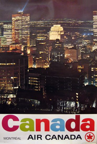 Montreal lights up the night in this original Air Canada vintage poster!