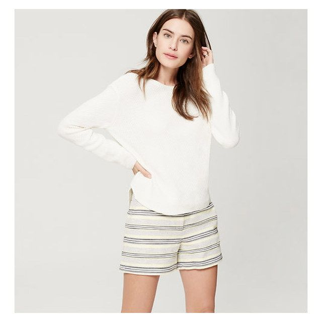 Ann Taylor LOFT:앤 테일러 로프트] Striped Tweed Riviera Shorts With 4 Inseam