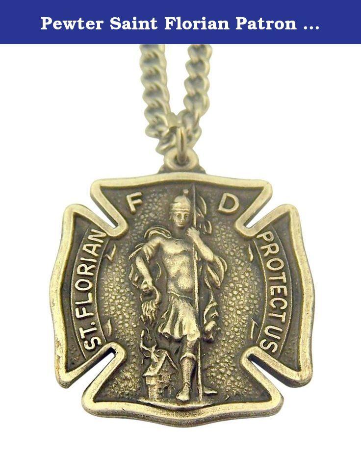 Pewter Saint Florian Patron of Firefighters Badge Shape Medal Pendant, 1 1/4 Inch. Features Saint Florian - Patron of the Fire Department.