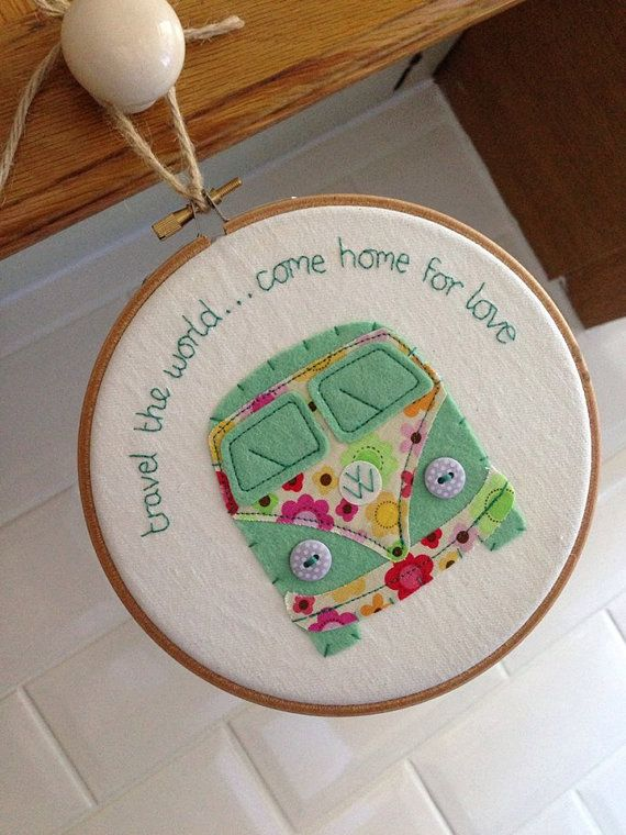 Campervan Embroidery Hoop Wall Hanging by KirstensLOVEFelts, £12.99