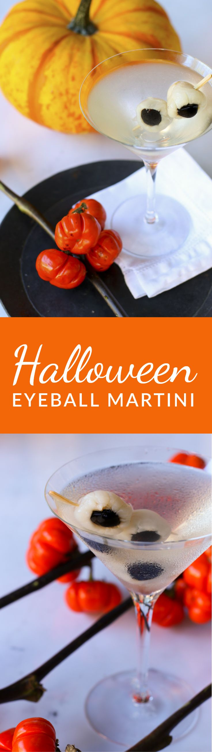 Spooky and tasty, this Halloween cocktail is made with delicious ingredients: Vodka, St. Germain, lemon, lychees and Luxardo maraschino cherries.