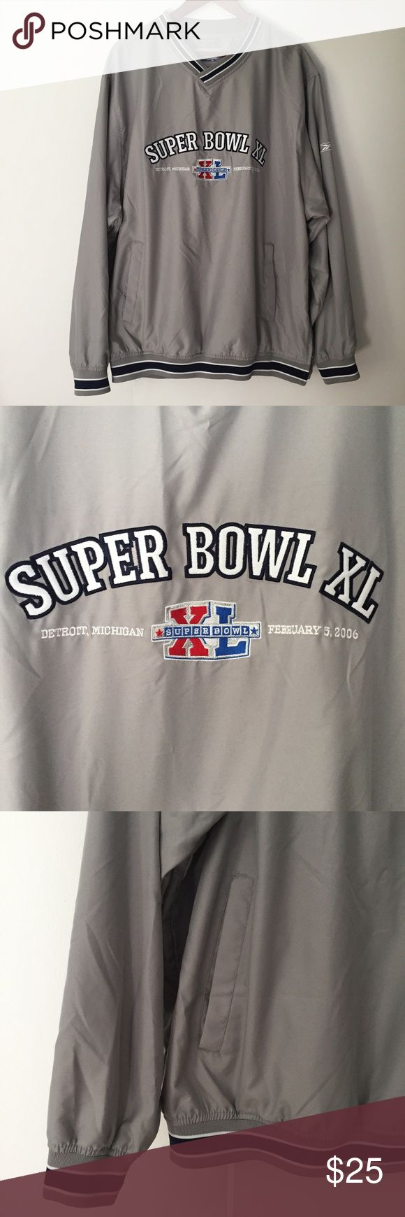 Reebok Official NFL Super Bowl XL pullover sz L Reebok Official NFL Super Bowl XL pullover. Size: L. Gray. Front logo. Front pockets. Great preowned condition. Super Bowl XL 2006 played in Detroit, Michigan at Ford Field - Steelers defeated the Seahawks. Reebok Jackets & Coats