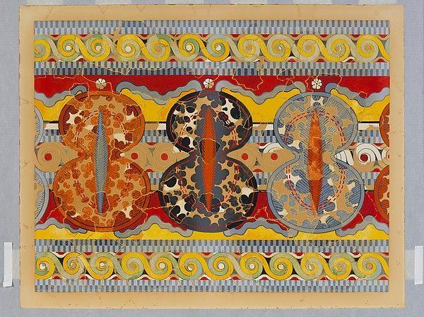 Riproduzione del Shield fregio, ca 1325-1250 a.C.  Affresco dal piazzale interno del Palazzo di Tirinto, 100,3 X 81,3 cm. Museo Archeologico Nazionale di Atene.