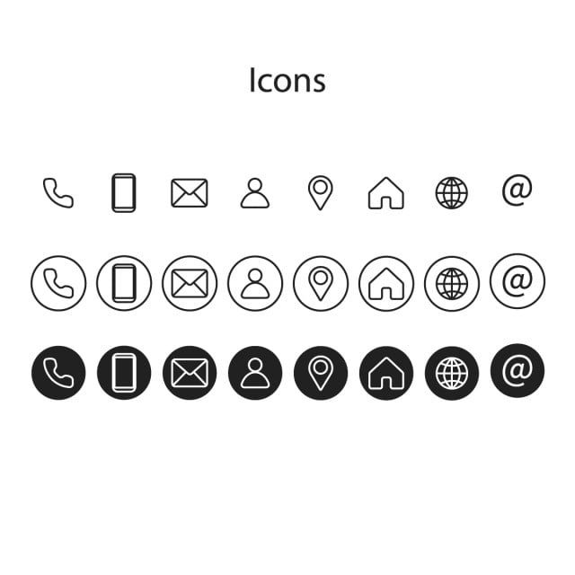 information icons icon set of different styles phone icon card png and vector with transparent background for free download in 2020 icon set business card icons icon phone icon card png and vector