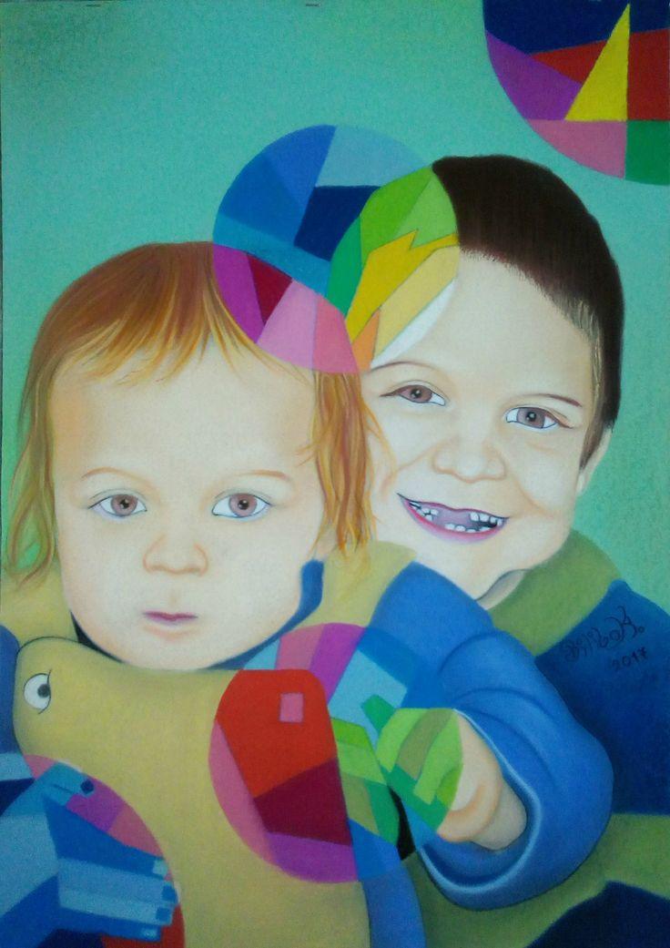 ''Testvérkép'' (Én és Tamika,egy már 9 éves fényképről festve) 50x70 pasztell,karton.