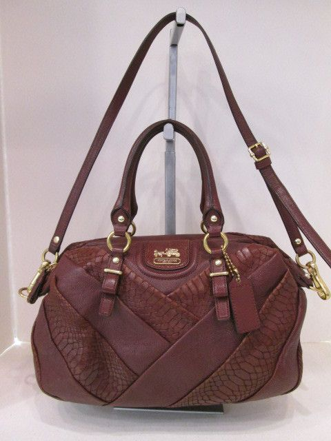 Keeks Designer Handbags Coach 21319 Madison Exotic Embossed Leather Juliette Satchel