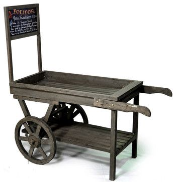 Wooden Retail Display Cart with Chalkboard - contemporary - Bar Carts - The Lucky Clover Trading Company  $110